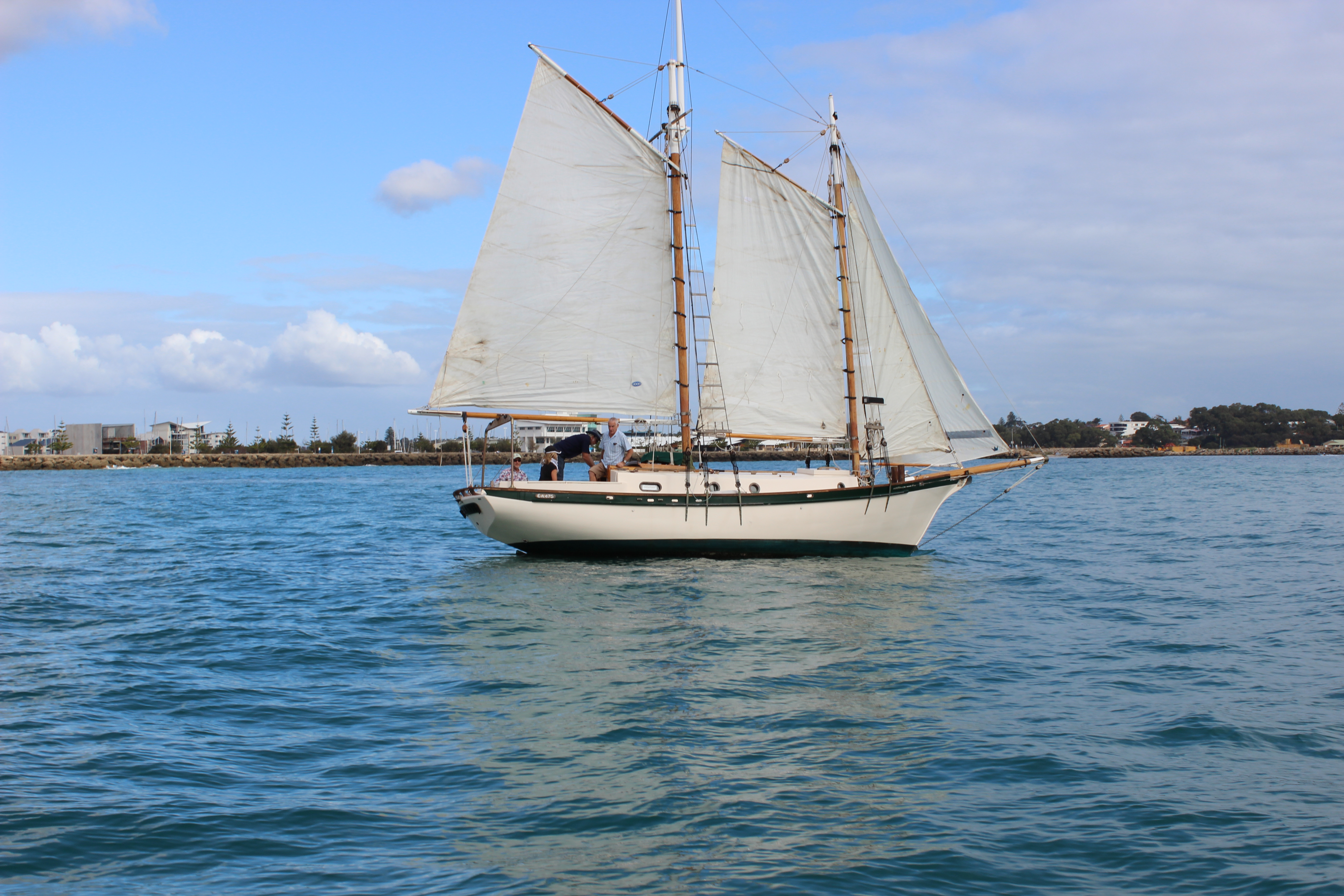 sailing gaff rigged schooner sea trial Mandurah wooden boat yacht